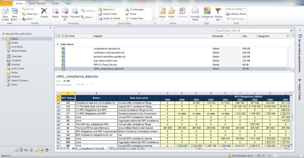 Preview of imported and Converted Excel data Inside Outlook