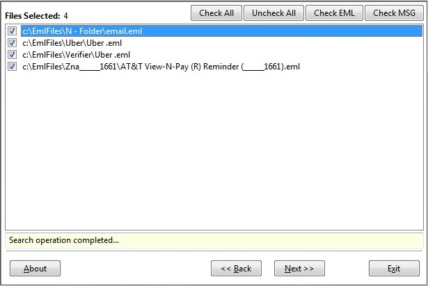 EML to PST Converter will find EML files