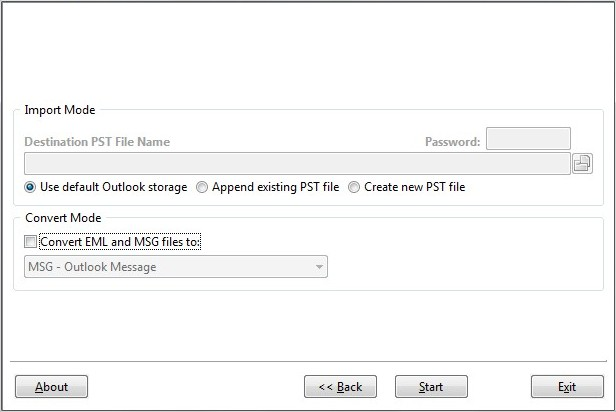 Select target folder and PST file name.